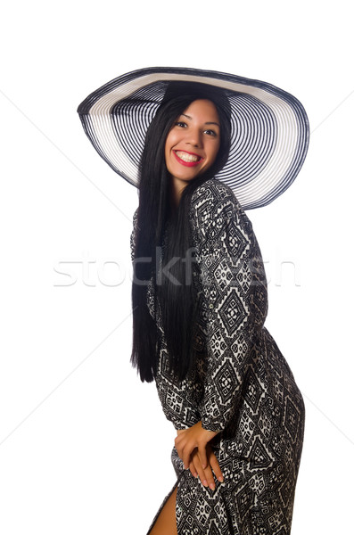Black hair woman in long gray dress isolated on white Stock photo © Elnur