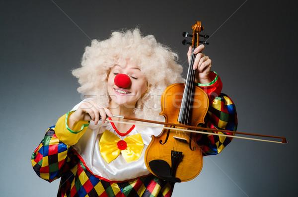 Stockfoto: Clown · grappig · donkere · muziek · man · triest