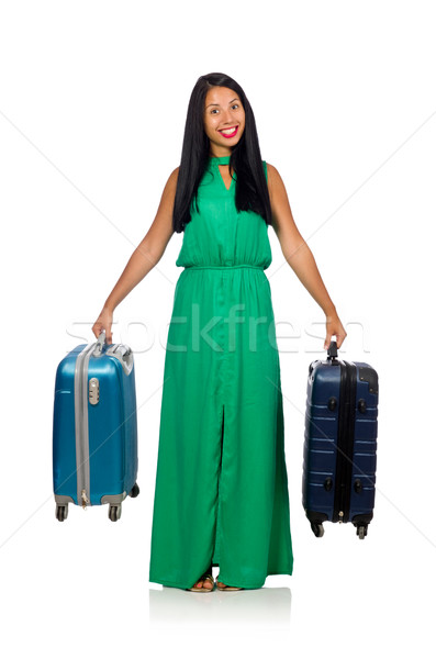 Stock photo: Woman preparing for summer vacation on white