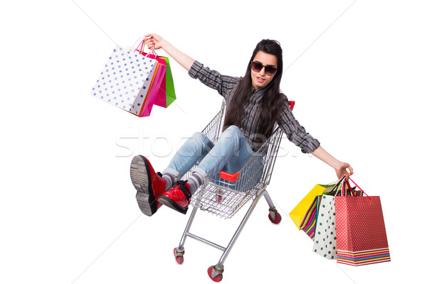Young woman happer after shopping isolated on white Stock photo © Elnur