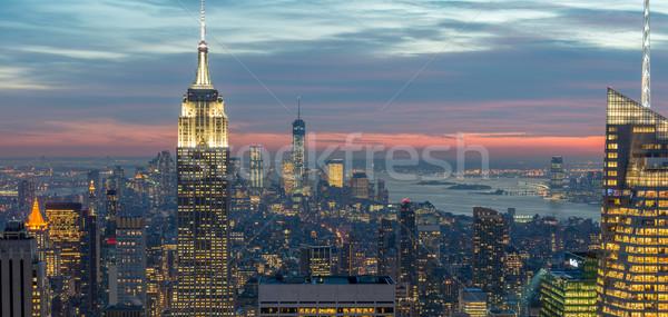 Nieuwe Manhattan zonsondergang business hemel Stockfoto © Elnur