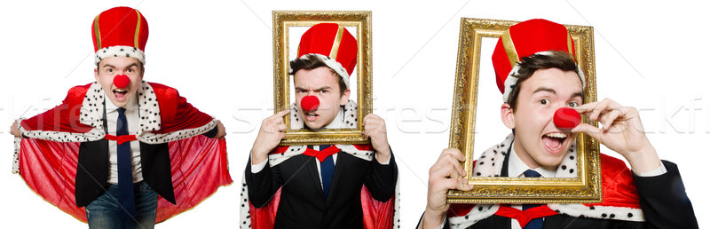 Man with crown isolated on white Stock photo © Elnur