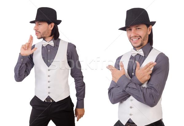 Joven gris camisa negro sombrero aislado Foto stock © Elnur