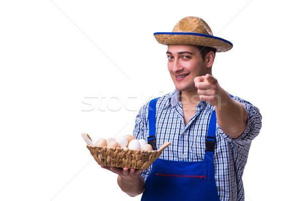 Man strohoed eieren huis voedsel ei Stockfoto © Elnur