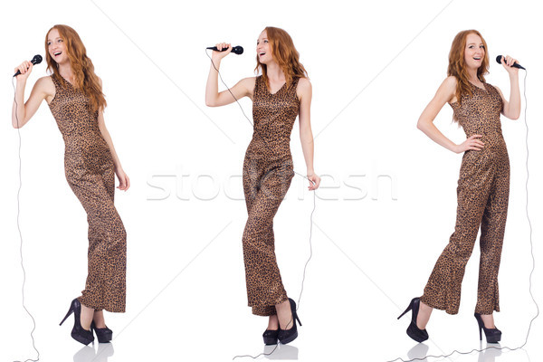 Young woman singing in karaoke isolated on white Stock photo © Elnur