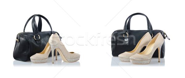 Сток-фото: коллаж · обувь · мешки · белый · моде · красоту
