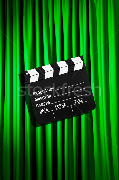 Movie clapper board against curtain Stock photo © Elnur