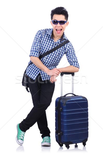 Fiatal fickó utazás tok fehér háttér Stock fotó © Elnur