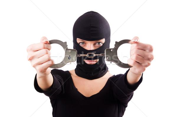 Foto d'archivio: Giovani · femminile · penale · manette · donna · sfondo
