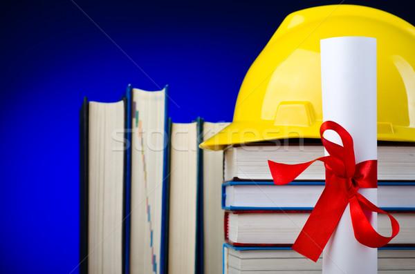 Ipari oktatás védősisak könyv diák háttér Stock fotó © Elnur