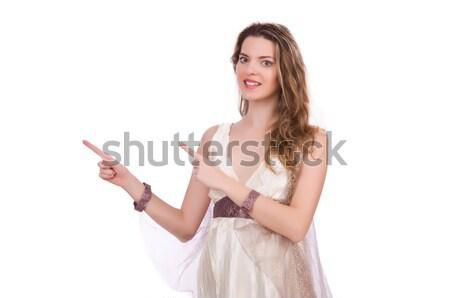 Pregnant woman in wedding dress on white Stock photo © Elnur