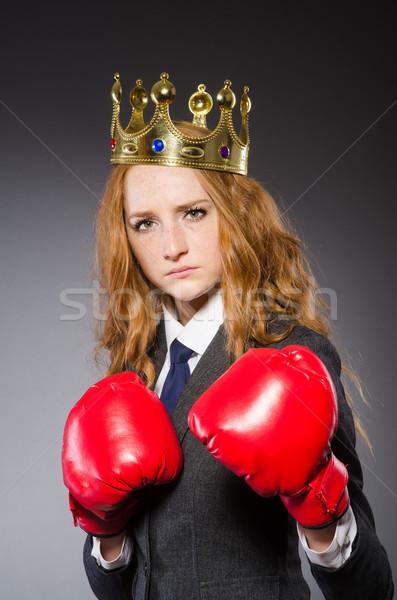 Mujer boxeador corona rojo guantes negocios Foto stock © Elnur