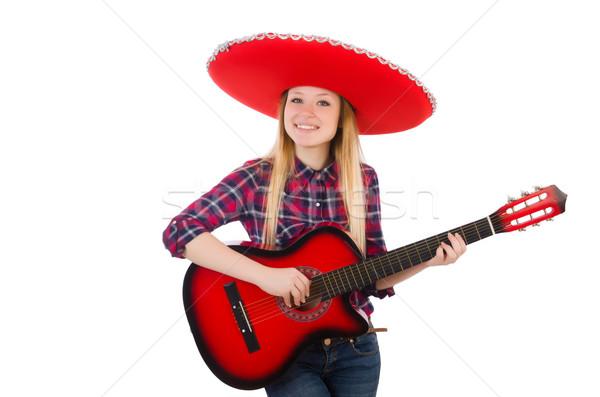 Vicces mexikói szombréró zene buli gitár Stock fotó © Elnur
