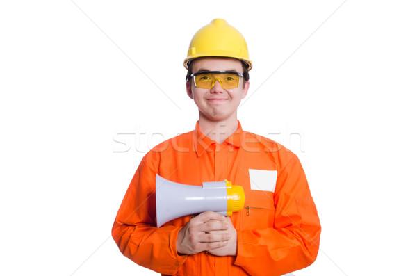 Builder altoparlante isolato bianco uomo costruzione Foto d'archivio © Elnur