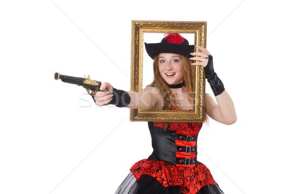 Vrouw piraat pistool fotolijstje hand zee Stockfoto © Elnur