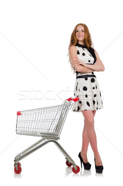 Mulher compras supermercado isolado branco feliz Foto stock © Elnur