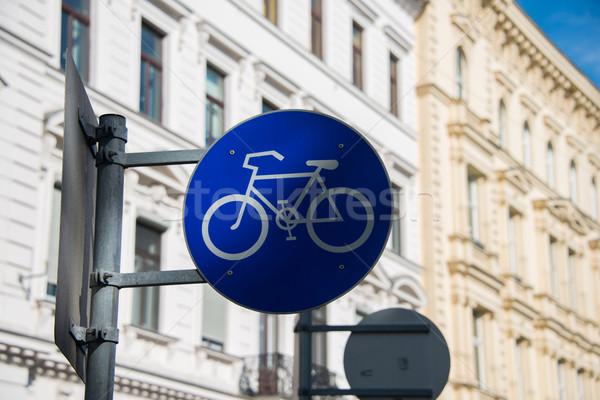 Bicicleta assinar rua postar céu estrada Foto stock © Elnur