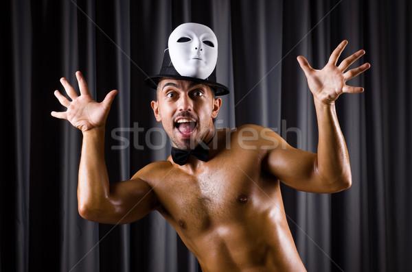 Izmos színész színpadi maszk meztelen arc Stock fotó © Elnur