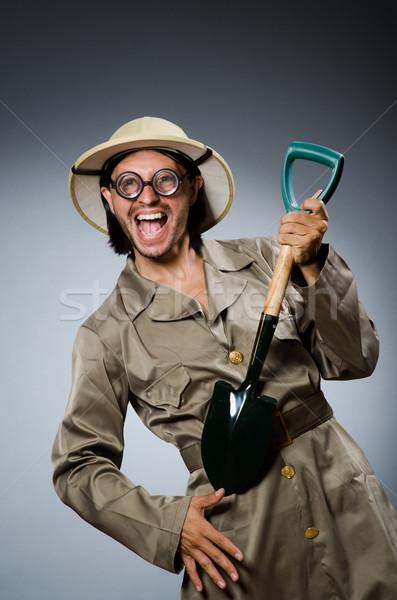 Komik safari avcı tabanca kişi oyun Stok fotoğraf © Elnur