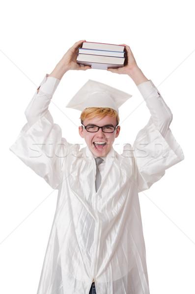Jonge student geïsoleerd witte papier boeken Stockfoto © Elnur
