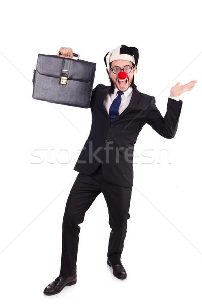 Grappig clown zakenman geïsoleerd witte partij Stockfoto © Elnur