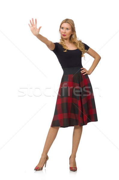Beautiful young woman in plaid dress isolated on white Stock photo © Elnur