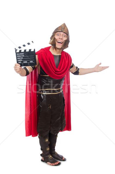 Gladiador isolado branco feliz filme vermelho Foto stock © Elnur