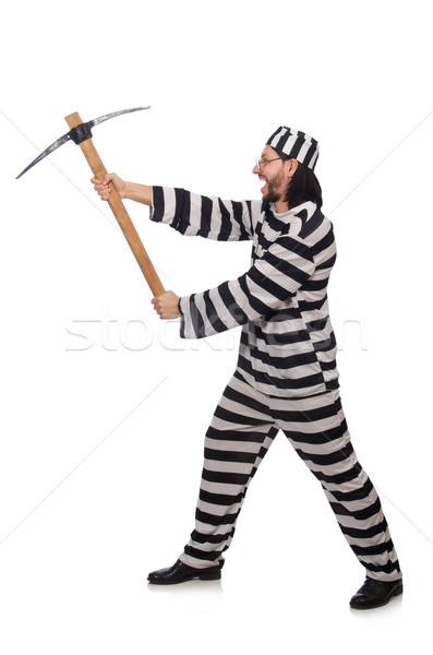 Prisión preso hacha aislado blanco hombre Foto stock © Elnur