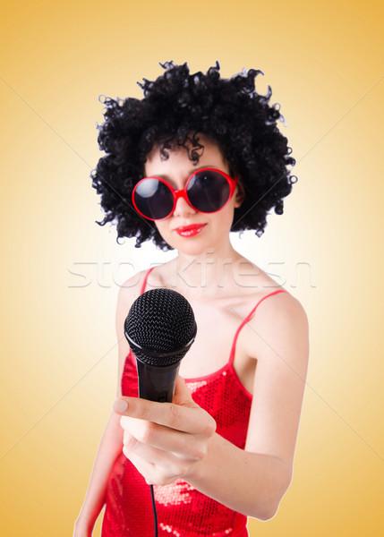 Zdjęcia stock: Pop · star · czerwona · sukienka · gradient · kobieta · strony