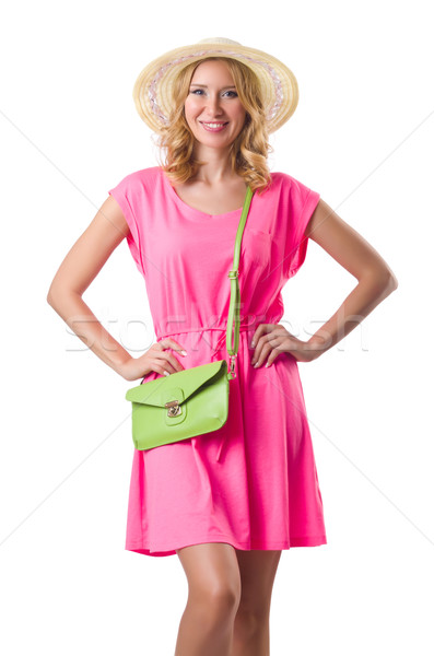 Blond girl in summer pink clothing isolated on white Stock photo © Elnur