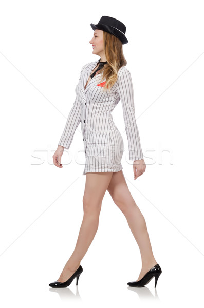 Beautiful girl in striped clothing isolated on white Stock photo © Elnur