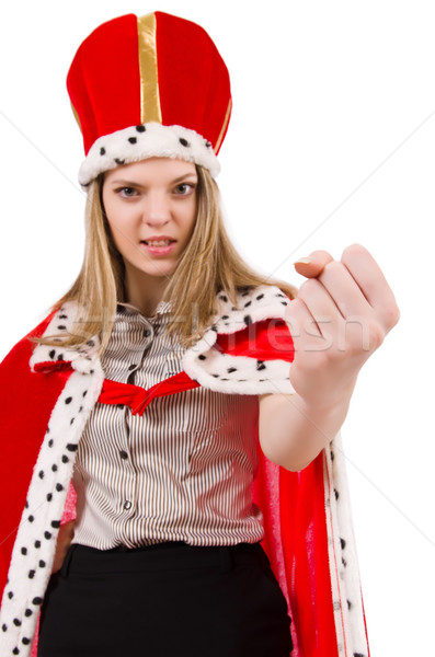 Businesslady wearing crown isolated on white Stock photo © Elnur