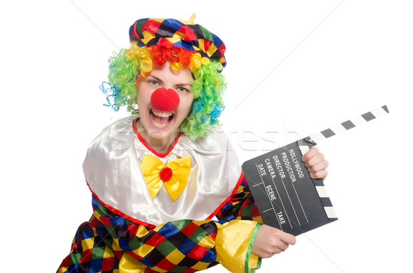 Stock photo: Clown with movie clapper isolated on white