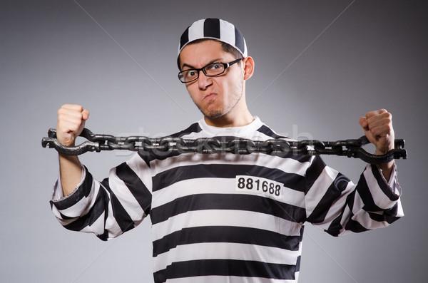 Stock fotó: Vicces · fogoly · lánc · izolált · szürke · fekete