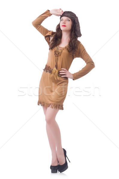 Fiatal nő kalóz ruházat fekete kalap női Stock fotó © Elnur