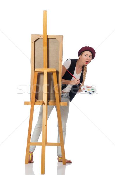 Vrouw kunstenaar geïsoleerd witte meisje werk Stockfoto © Elnur
