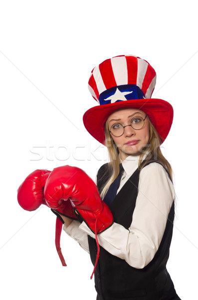 Woman with boxing gloves isolated on white Stock photo © Elnur