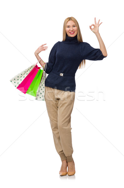 Tall woman with plastic bags isolated on white Stock photo © Elnur