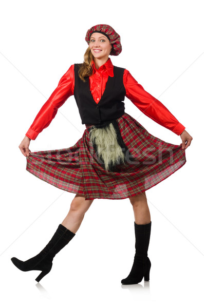 Funny woman in scottish clothing on white Stock photo © Elnur