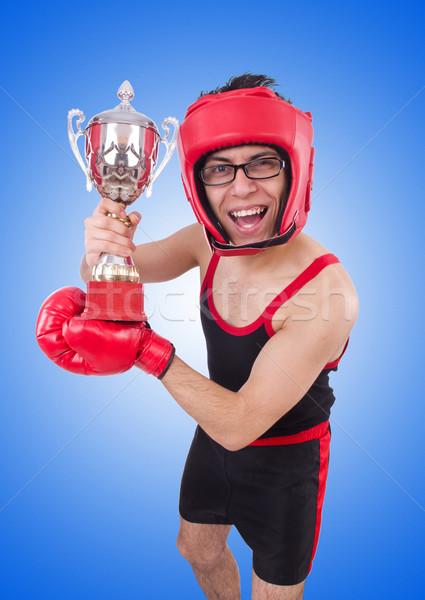 Drôle boxeur isolé blanche main sport Photo stock © Elnur