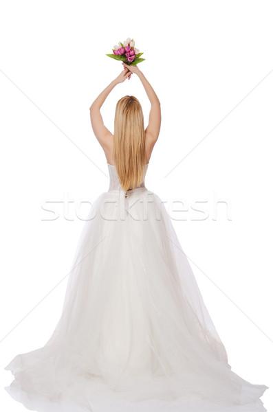 Foto stock: Novia · flores · aislado · blanco · mano · amor