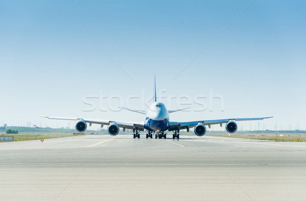 The large airplane on the runway ready for takeoff Stock photo © Elnur