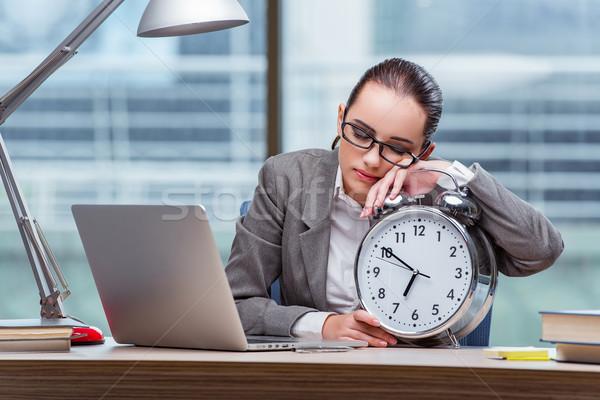Empresária reunir-se prazos negócio feliz relógio Foto stock © Elnur