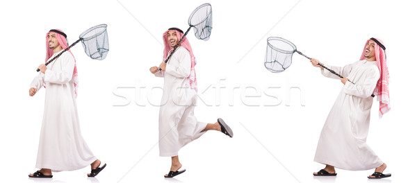 Arab man with catching net isolated on white Stock photo © Elnur