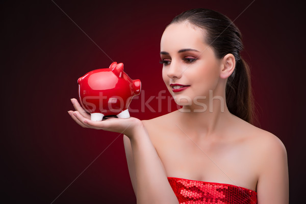 Stok fotoğraf: Genç · kadın · kırmızı · iş · kadın · alışveriş