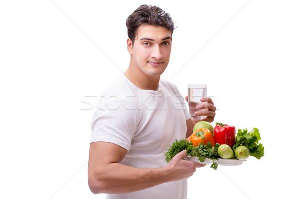 Férfi egészséges étkezés étel boldog gyümölcs üveg Stock fotó © Elnur