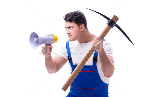 Repairman with megaphone and a digging axe on white background i Stock photo © Elnur