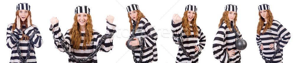 Woman prisoner isolated on white Stock photo © Elnur