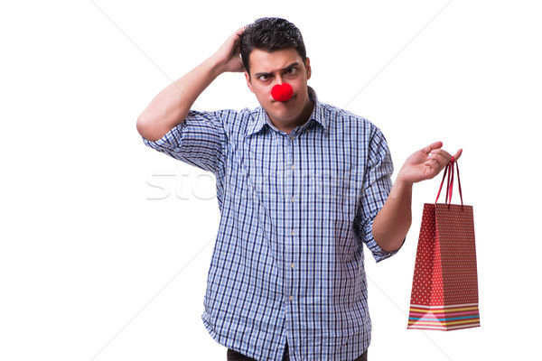 человека красный носа смешные корзина Сток-фото © Elnur