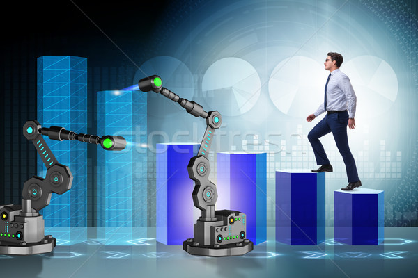 Businessman walking up the chart supported by robotic arm Stock photo © Elnur